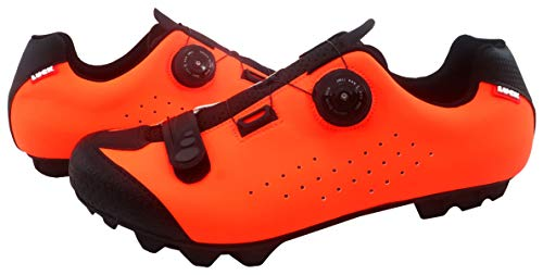 LUCK Zapatilla de Ciclismo MTB ÍCARO con Suela de Carbono y Sistema rotativo de precisión acompañada de un Velcro. (45 EU, Naranja)