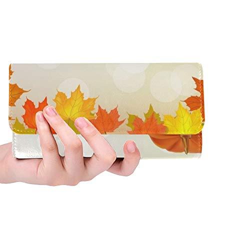 JOCHUAN Einzigartige benutzerdefinierte herbst kürbis urlaub postkarte frauen trifold brieftasche lange geldbörse kreditkarteninhaber fall handtasche