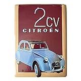 Plaques Métal Autos Plaque Metal 20X15cm Citroen 2CV Capote Noir
