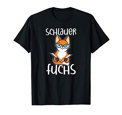 Schlauer Fuchs Bücher Lesen Bildung Schule Studium Abschluss T-Shirt