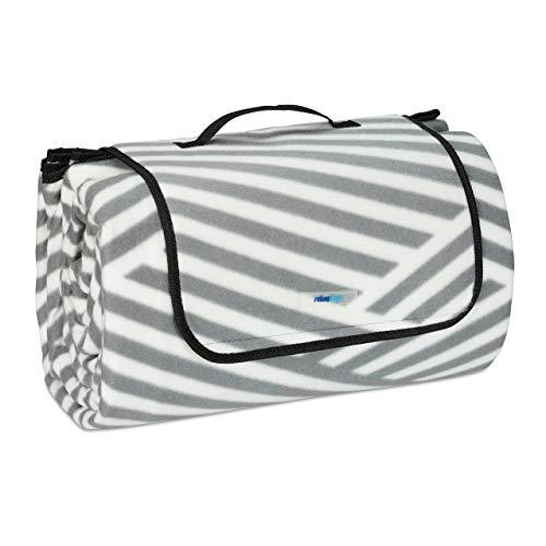 Relaxdays XXL Picknickdecke, 200x300 cm, Fleece Stranddecke weich, wärmeisoliert, wasserdicht, mit Tragegriff, grau/weiß
