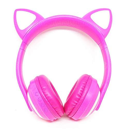 Headphone Bluetooth com Iluminação LED Fone Sem Fio de Gatinho Exbom HF-C240BT Rosa