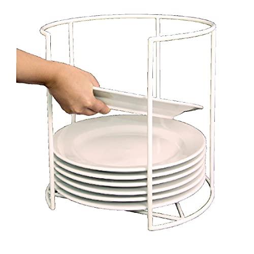 Vogue Support de rangement rond pour assiettes Blanc 300 x 230 mm