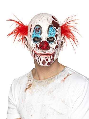 Halloween! Smiffys Zombieclown-Maske, Mehrfarbig, Schaumlatex, komplette Kopfabdeckung, mit Haaren