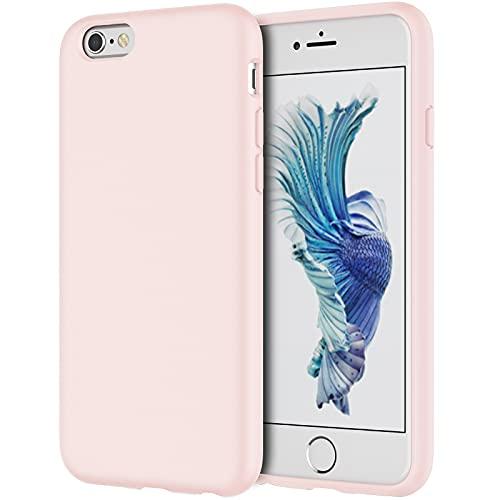 JETech Funda de Silicona Compatible con iPhone 6s/6 4,7 Pulgadas, Funda Protectora de Cuerpo Completo con Tacto Suave y Sedoso, Cubierta a Prueba de Golpes con Forro de Microfibra, Rosado
