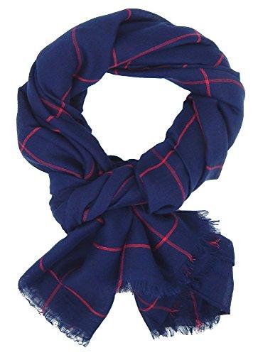 Ella Jonte Écharpes foulard d'homme élégant et tendance de la dernière collection by Classic-Line large bleu avec rayure rouge - léger et très agréabl