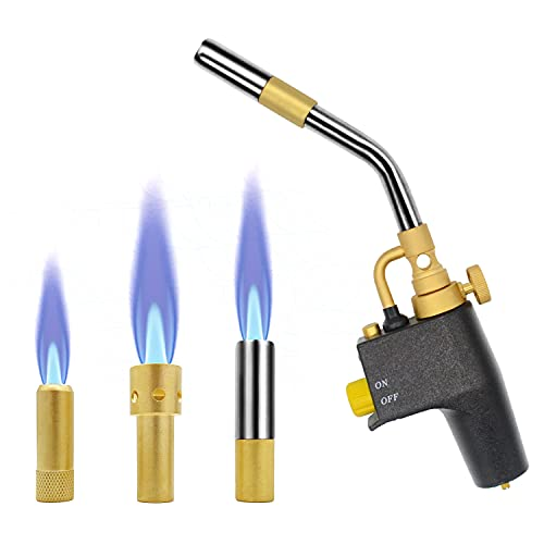 High Intensity Propane Torch , Adjustable Flame Welding Torch with 3 Nozzles, Compatible with MAPP/MAP Pro/Propane, Portable Hand Trigger Start Torch for Gas Welding/Searing Steak