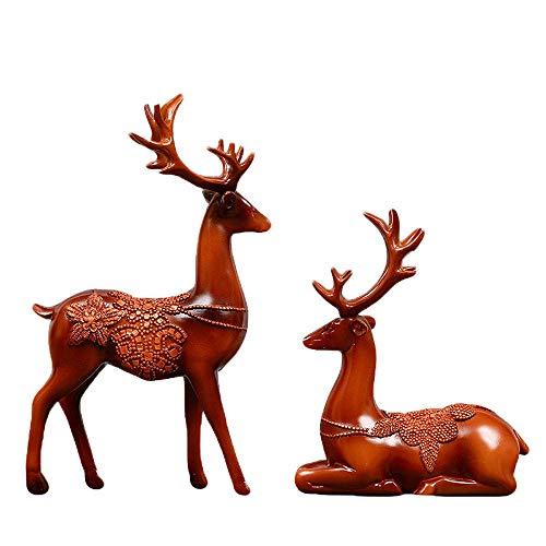 WY-BUILD Escultura de Ciervo Sika, Ornamento Escritorio, decoración contemporánea para el hogar y la Oficina, Adecuada para Dormitorio, Estudio, Vitrina, decoración Creativa, Regalo de Arte,Red