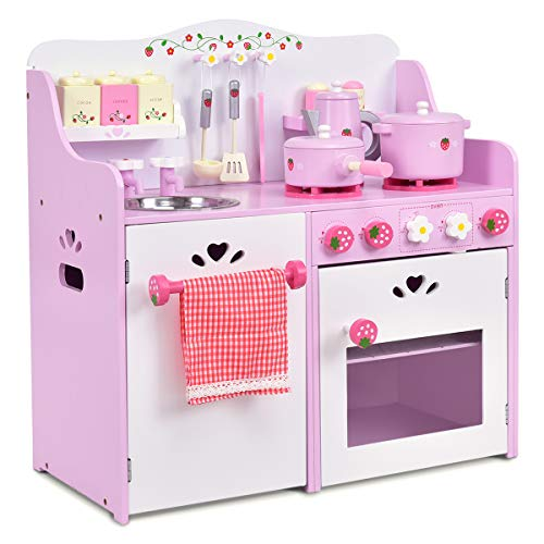Costzon Kids Kitchen Playset, Wooden Cookware Pretend Cooking Food Set Toddler Gift Toy (24.4 Height, Pink)