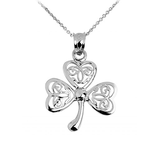 925 Sterling Silver Irish Celtic Three Leaf Clover Good Luck Charm Pendant Necklace, 18'