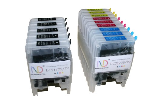 ND Brand Dinsink © 14 Pack Compatible Ink Cartridge Replacements for Brother LC-71 , LC-75 5 Black, 3 Cyan, 3 Magenta, 3 Yellow. LC-71BK , LC-71C , LC-71M , LC-71Y , LC-75BK , LC-75C , LC-75M , LC-75Y