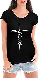 Camiseta Criativa Urbana Jesus Cruz Evangélica Gospel Religiosa Blusa Feminina Preta