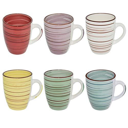 CREOFANT Juego de 6 tazas de café, 350 ml, de gres (multicolor)