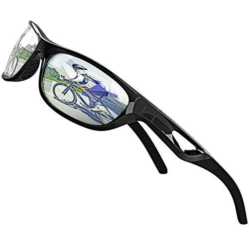ATTCL Herren Sonnenbrille Polarisierter Sports Fahren Golf Laufen Superleichtes Rahmen (Schwarz-Silber 306)