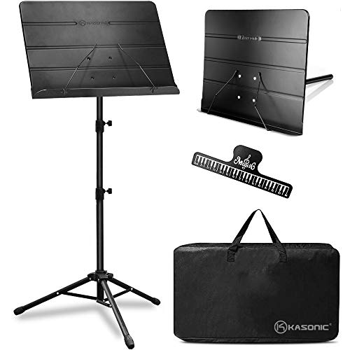 Kasonic 2 in 1 Dual-Use Folding Sheet Music Stand & Desktop Book Stand with Portable Carrying Bag and Music Sheet Clip Holder (Black)