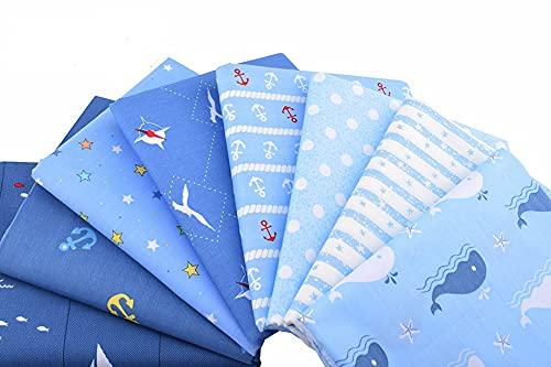 8 Telas marinas para cojines, vestidos, costura, colchas, toallas, banderines, caravanas, guirnaldas, manualidades, patchwork, costura 40 x 50 cm de CHIPYHOME
