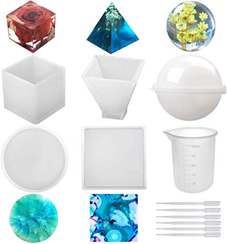 Silicone Resin Molds 5Pcs Resin Casting Molds Including Sphere, Cube, Pyramid, Square, Round with 1 Measuring Cup & 5 Plastic Transfer Pipettes for Resin Epoxy, Candle Wax, Soap, Bowl Mat etc