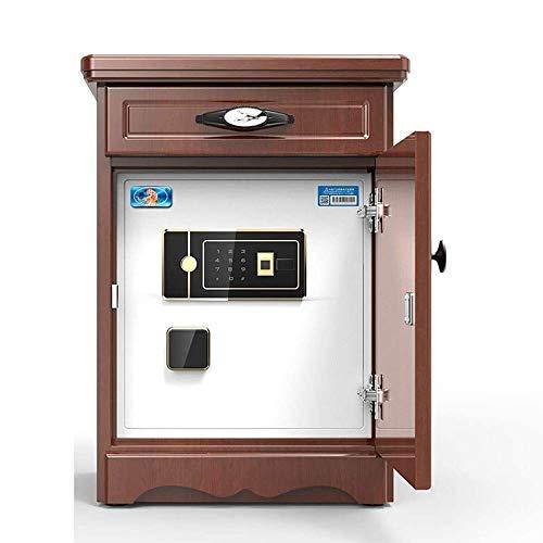 ZXNRTU Säkerhetsboxar för hemmet, Home Safe 60cm låda Solid Wood Sängbord Small Safe Fingerprint Password Stealth Stöldskydd Skåp Skåp Kassaskåp (Color : Brown)