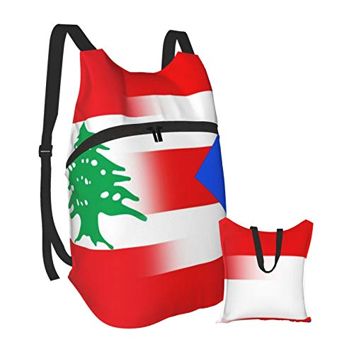 Lebanon and Puerto Rico Outdoor Foldable Travel Backpack Lightweight Bookbag