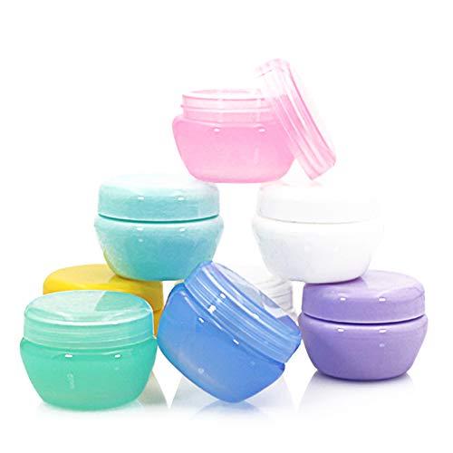 8pcs Maquillage cosmétique vide Récipient en plastique Échantillon ronde Pot Pot approuvé Leakproof Jars Voyage Idéal pour Voyage Camping 30g