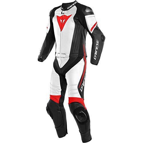 Dainese Lederkombi Laguna Seca 4 2Pcs, schwarz-matt/weiß/fluo-rot, Größe 48