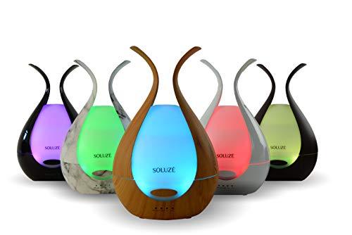 SOLUZE Aroma Diffuser Elegant 200 ml Ultraschall Luftbefeuchter ätherische Öle Luftreiniger Lufterfrischer Diffusor Aromatherapie Wohnung Schlafzimmer Kinderzimmer Baby Duftlampe nachtlicht (Weiß)