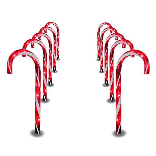 """Loopunk Vialetto Illuminazione Natale Vialetto Candy Cane Passeggiata Luce 1 """" Paletti Lampadina Esterno Iarde Decorazione"""