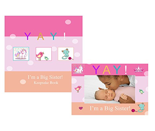 Yay Im A Big Sister, Baby Sibling Keepsake Memory Book and Picture Photo Frame Gift Set for Kids (Big Sister)