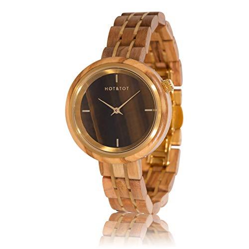 HOT&TOT Avalon   Zebra Wood Watch and Tigereye Stone  36mm   Gold, Brown   Womens Wooden Watch Analog Quartz Date Lightweight Handmade Gemstone Tigereye Stone Wood Wrist Watch