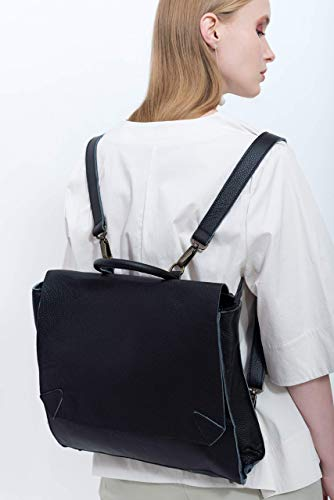 Handmade Designer Napa Black Genuine Leather Laptop Backpack and messenger Bag