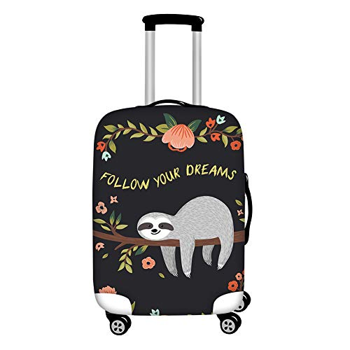 Coloranimal Kawaii Sloth Floral Luggage Cover Follow Your Dreams Travel Suitcase Protector Bag Case Elastics Thicken Apply to'30-32'Inch Trolley Accessories Zipper