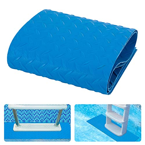 2 Rolls of Protective Swimming Pool Ladder Mat- 2.5mm Thickened Pool Step Mat with Uneven Surface Non-Slip Pool Liner Protection Cushion for Stairs Protecting Vinyl Pool Liner (9 x 35.4 Inches, Blue)