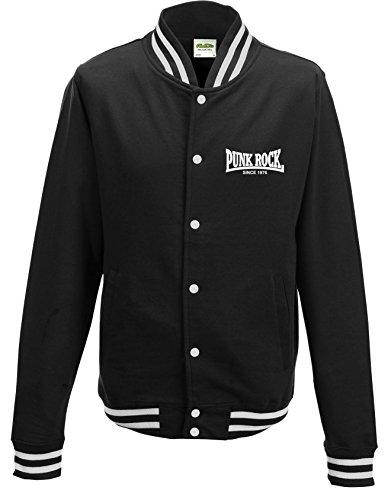 Punk Rock Since 1976 Campus Sweat pour Homme Black White - Noir - Large