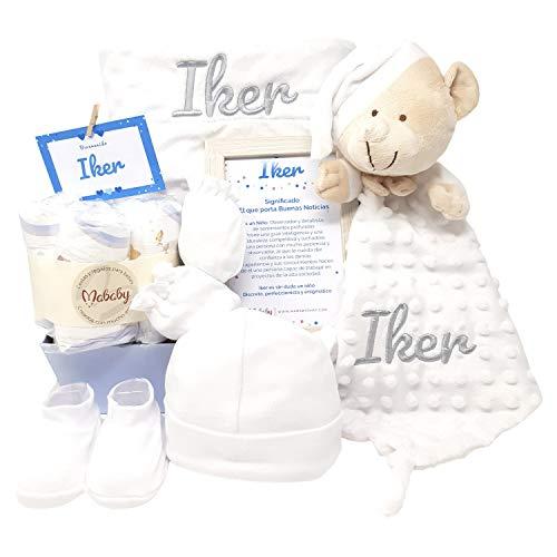 Velvet Dou Dou de Mababy | Canastilla Bebé Personalizada | Cesta Regalo Recién Nacido | Set Bebe Recién Nacido Personalizado (Blanco)