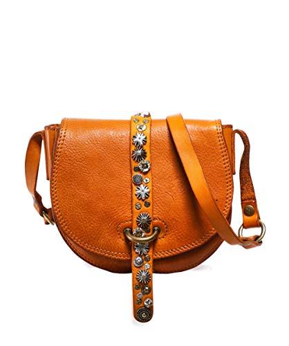 Campomaggi Da Donna piccola borsa a tracolla in pelle con borchie Giallo Unica Taglia