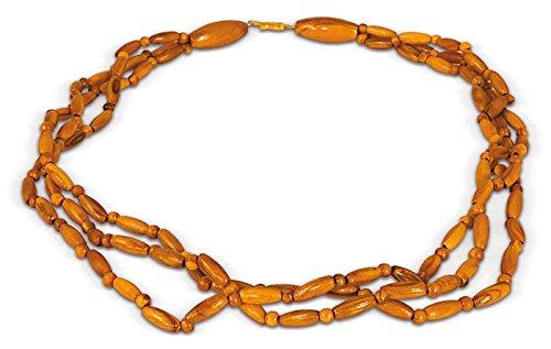 Arte Legno - Hals-Kette Collier aus Oliven-Holz (3-reihig, mit Verschluss)