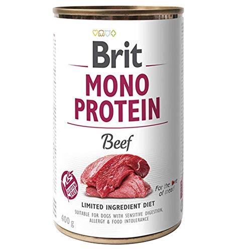 Brit Cibo Umido per Cani a Manzo- Mono Proteico - Grain Free e Gluten Free - Confezione da 6 Scatolette X 400 Gr - 2.4 kg