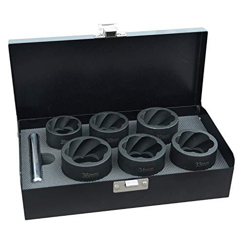 Hesselink SN-1200 Spezial Schraubenausdreher Set 7-tlg. I für Schrauben die sich mit normalem Werkzeug nicht mehr öffnen lassen I Industriequalität I 28-36mm I für Schlagschrauber zugelassen