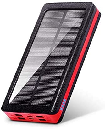 Banco de energía solar impermeable 20000 mAh, 4 USB cargador rápido, batería externa portátil con luz de camping, compatible con iPhone, Samsung, Huawei, Tablet (rojo)