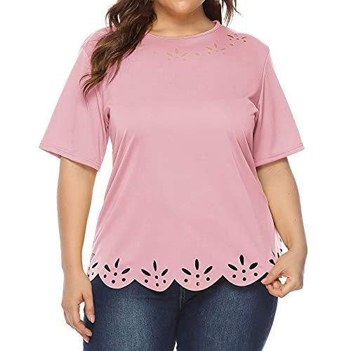 AMhomely Camisas y blusas para mujer, tallas grandes, color liso, casual, manga corta, cuello redondo, túnica para oficina, talla Reino Unido