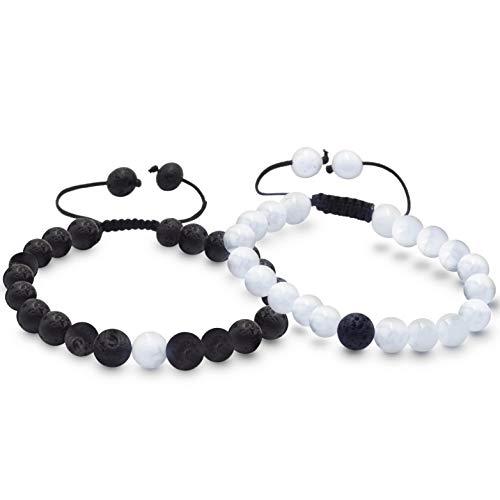 Roman Ventures Adjustable Size Couples Bracelets/Friendship Bracelet Set | Great His and Hers Gift for Couples, Friends, Boyfriend/Girlfriend, Any Long Distance Relationship | Multiple Color Options