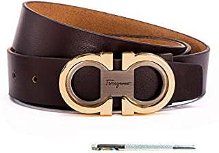 Men's Genuine Leather Belt Adjustable Buckle, by Trim to Fit