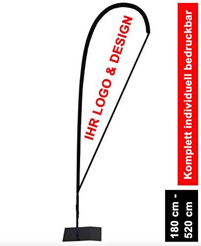 Beachflag mit Standfuß individuell bedruckt | Werbeflagge Fahne Drop Tropfenform mit Metallbodenplatte (290 cm)
