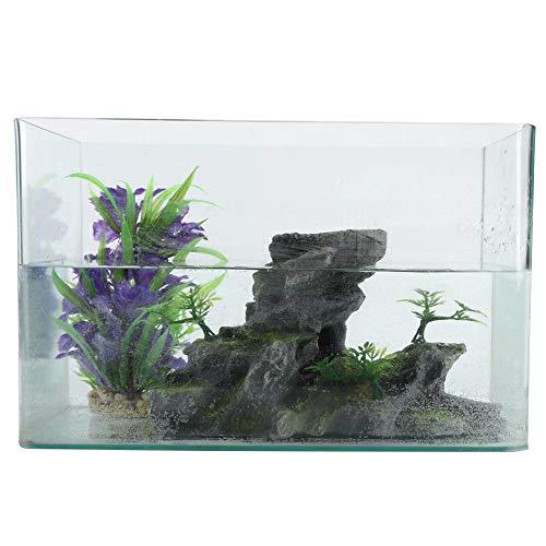 夏の楽しみ水槽オーナメント、屋内水族館の装飾屋内樹脂のためのシミュレーション樹脂Rockery-の形の水槽の装飾岩の上には小さな木、苔や洞窟があり