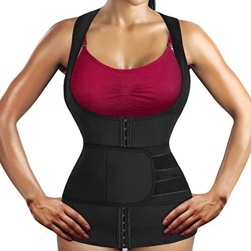Weiyee Damen Unterbrust Sauna Neopren Schwitzweste Slimming Workout Taille Trainer Korsett Body Shaper mit Haken und Gürtel für Gewichtsverlust, Schwarze Schweißweste, XX-Large