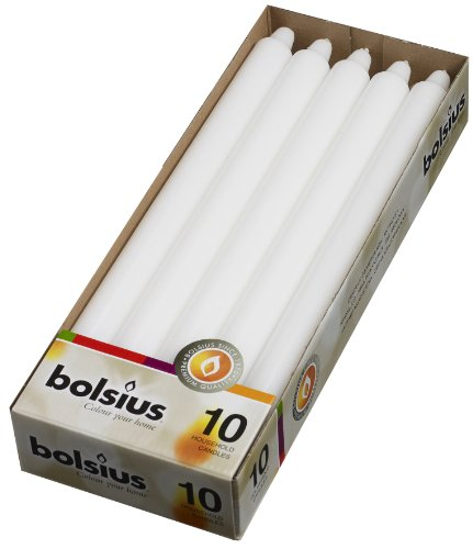 Bolsius Set 10-12 inch Household Taper White Candles