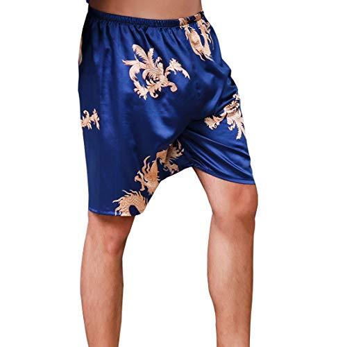 AIEOE Herren Satin Schlafshorts Boxershorts Pyjamahose Kurz Nachtwäsche Loungehose - Drache Blau Herstellergröße 3XL