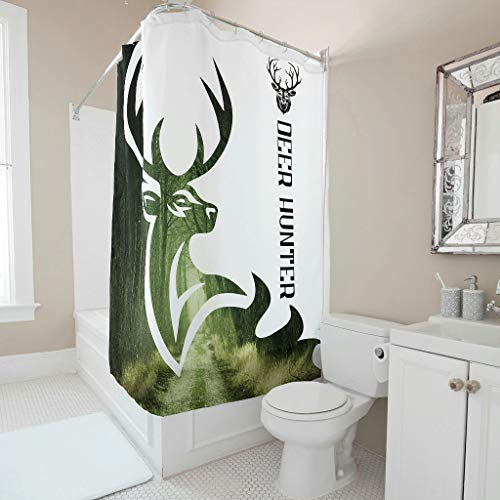 Lind88 Deer Hunter Shower Curtain Theme Fresh Reinforced Buttonholes Bath Curtains Set with Hooks - for Dormitory Decorate white 150x180cm