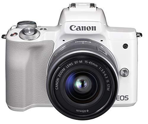 Canon ミラーレス一眼カメラ EOS Kiss M 標準ズームキット ホワイト EOSKISSMWH-1545ISSTMLK