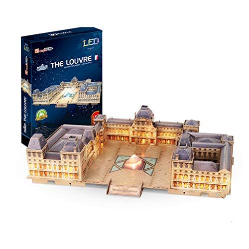 Juego mental Regalo Louvre 3D Tridimensional Manual arquitectónico Asamblea Modelo Adulto Puzzle Puzzle de Bricolaje Modelo del Rompecabezas